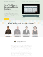 """The Full Landing Page for Noah Kagan's """"How To Make A $1000 Business"""" course"""