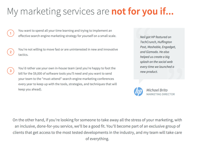 Marketing services are not for you if three different points