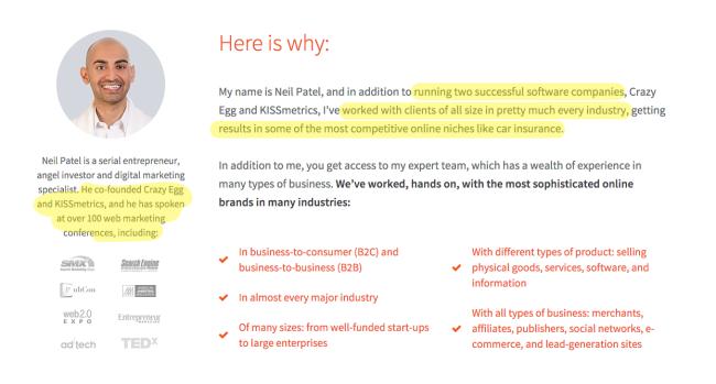 Neil Patel Credentials screenshot neilpatel.com