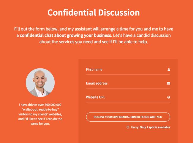 Screenshot Simple Contact Form neilpatel.com